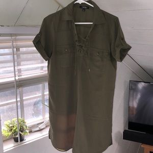 Olive green safari dress